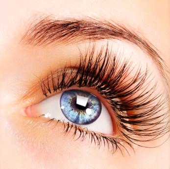 Woman blue eye with extremely long eyelashes